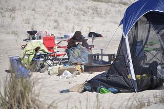 Knitting and camping